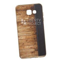 Силиконовый чехол-накладка для Samsung Galaxy A5 2016 (0L-00029526) (кожа и дерево, золотистый)