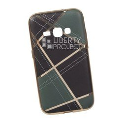 Силиконовый чехол-накладка для Samsung Galaxy J1 2016 (0L-00029563) (бежевая клетка, золотистый)