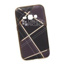 Силиконовый чехол-накладка для Samsung Galaxy J1 2016 (0L-00029581) (коричневая клетка, золотистый)