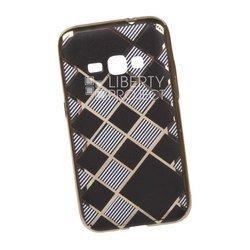 Силиконовый чехол-накладка для Samsung Galaxy J1 2016 (0L-00029554) (клетка с полосками, золотистый)