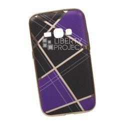 Силиконовый чехол-накладка для Samsung Galaxy J1 2016 (0L-00029572) (сиреневая клетка, золотистый)