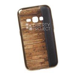 Силиконовый чехол-накладка для Samsung Galaxy J1 2016 (0L-00029527) (кожа и дерево, золотистый)