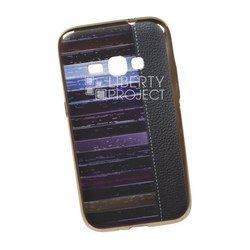 Силиконовый чехол-накладка для Samsung Galaxy J1 2016 (0L-00029545) (кожа и краски, золотистый)