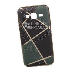 Силиконовый чехол-накладка для Samsung Galaxy J3 2016 (0L-00029564) (бежевая клетка, золотистый)