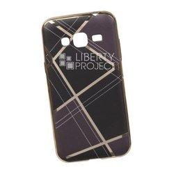 Силиконовый чехол-накладка для Samsung Galaxy J3 2016 (0L-00029582) (коричневая клетка, золотистый)