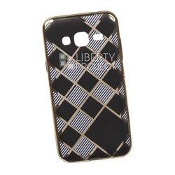 Силиконовый чехол-накладка для Samsung Galaxy J3 2016 (0L-00029555) (клетка с полосками, золотистый)