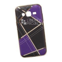 Силиконовый чехол-накладка для Samsung Galaxy J3 2016 (0L-00029573) (сиреневая клетка, золотистый)