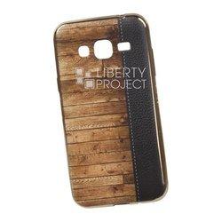 Силиконовый чехол-накладка для Samsung Galaxy J3 2016 (0L-00029528) (кожа и дерево, золотистый)