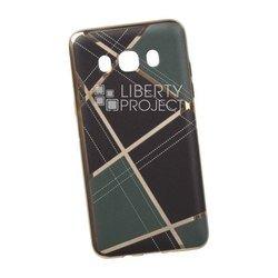 Силиконовый чехол-накладка для Samsung Galaxy J5 2016 (0L-00029565) (бежевая клетка, золотистый)