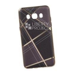 Силиконовый чехол-накладка для Samsung Galaxy J5 2016 (0L-00029583) (коричневая клетка, золотистый)