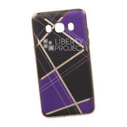 Силиконовый чехол-накладка для Samsung Galaxy J5 2016 (0L-00029574) (сиреневая клетка, золотистый)