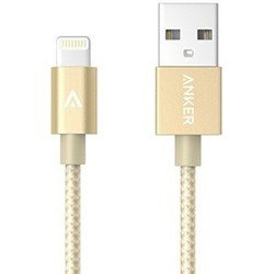 Кабель USB-Lightning для Apple iPhone 5, 5C, 5S, SE, 6, 6 plus, 6S, 6S plus, 7, 7 plus, iPad 4, Air, Air 2, mini 1, mini 2, mini 3, mini 4, PRO 12.9, PRO 9.7 (Anker A71360B1) (золотистый)