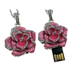 USB 2.0 8GB (Роза со стразами) (розовый)