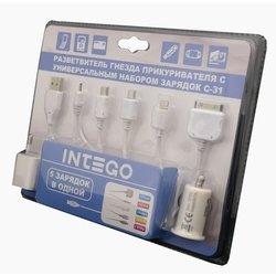 Автомобильное зарядное устройство 1хUSB + сетевое зарядное устройство + универсальный набор зарядок (Intego C-31)