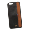 Чехол-накладка для Apple iPhone 6, 6S (WUW 0L-00029292) (черный, коричневый)  - Чехол для телефонаЧехлы для мобильных телефонов<br>Чехол-накладка плотно облегает заднюю крышку телефона и гарантирует ее надежную защиту от пыли, царапин, потертостей и других вешних воздействий. Дополнительно оснащен внешним карманом для карточек.<br>