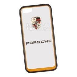 Чехол-накладка для Apple iPhone 5, 5S (Porsche 0L-00029874) (прозрачный, оранжевый кант)