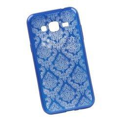 Чехол-накладка для Samsung Galaxy J3 2016 (Liberti Project 0L-00029629) (синий, цветочный узор)