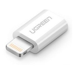 Переходник micro USB -  Lightning AF/AM для Apple iPhone 5, 5C, 5S, 6, 6 plus, 7, iPad 4, Air, Air 2, mini 1, mini 2, mini 3 (UGreen UG-20745) (белый)