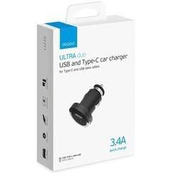 Автомобильное зарядное устройство USB + USB Type-C 3.4А (Deppa 11210)