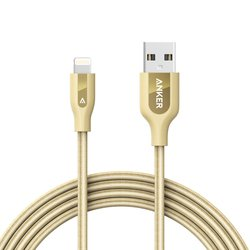 Кабель USB-Lightning для Apple iPhone 5, 5C, 5S, SE, 6, 6 plus, 6S, 6S plus, 7, 7 plus, iPad 4, Air, Air 2, mini 1, mini 2, mini 3, mini 4, PRO 12.9, PRO 9.7 (Anker PowerLine+ A8122HB1) (золотистый)