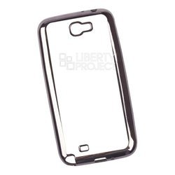Чехол-накладка для Samsung Galaxy Note 2 (Liberti Project 0L-00030874) (прозрачный, черная рамка)