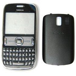 Корпус для Nokia Asha 302 со средней частью + клавиатура (М0944069) (черный)