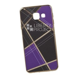 Чехол-накладка для Samsung Galaxy A3 2016 (Liberti Project 0L-00029570) (сиреневая клетка, золотистый)