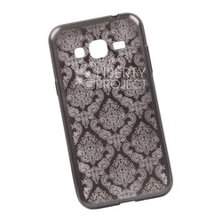 Чехол-накладка для Samsung Galaxy J3 2016 (Liberti Project 0L-00029627) (цветочный узор, серый)