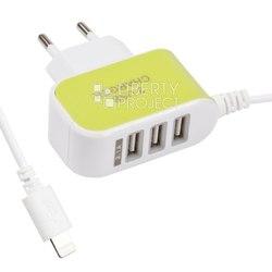 Сетевое зарядное устройство Lightning, 3хUSB, 2.1А (0L-00030280) (белый, зеленый)