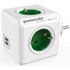 Сетевой разветвитель Allocacoc PowerCube  USB 1202GN/DEOUPC (4 розетки, 2хUSB) (белый, зеленый) - Сетевой фильтрСетевые фильтры<br>Allocacoc PowerCube  USB 1202GN/DEOUPC - сетевой разветвитель на 4 розетки со шторками типа F с заземлением, 16А, 2хUSB, 2.1A.<br>
