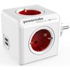 Сетевой разветвитель Allocacoc PowerCube  USB 1202RD/DEOUPC (4 розетки, 2хUSB) (белый, красный) - Сетевой фильтрСетевые фильтры<br>Allocacoc PowerCube  USB 1202RD/DEOUPC - сетевой разветвитель на 4 розетки со шторками типа F с заземлением, 16А, 2хUSB, 2.1A.<br>