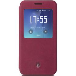 Чехол-книжка для Samsung Galaxy S7 Edge (Baseus Terse Leather Case LTSAS7EDGE-SM09) (бордово-красный)