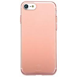 Чехол-накладка для Apple iPhone 7 (Baseus Simple Series Case Clear ARAPIPH7-B0R) (прозрачный, розовый)