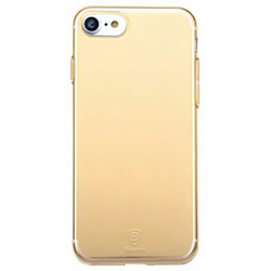 Чехол-накладка для Apple iPhone 7 (Baseus Simple Series Case With-Pluggy ARAPIPH7-A0V) (прозрачный, золотистый)