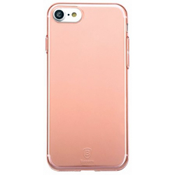 Чехол-накладка для Apple iPhone 7 (Baseus Simple Series Case With-Pluggy ARAPIPH7-A0R) (прозрачный, розовый)