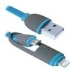 Кабель USB - microUSB, Lightning (Defender USB10-03BP) (синий) - Usb, hdmi кабель, переходникUSB-, HDMI-кабели, переходники<br>Кабель для зарядки и синхронизации портативных устройств, разъемы USB - microUSB с переходником на Lightning, тип USB 2.0, длина 1м.<br>