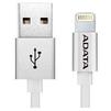 Дата-кабель USB - Lightning для Apple iPhone 5, 5C, 5S, 6, 6 plus, 6S, 6S Plus, 7, 7 Plus, iPad 4, Air, Air 2, Pro 9.7, Pro 12.9, PRO, mini 1, mini 2, mini 3, mini 4 (A-DATA AMFIAL-100CMK-CSV) (серебристый) - Usb, hdmi кабель, переходникUSB-, HDMI-кабели, переходники<br>Кабель для синхронизации и зарядки аккумулятора, разъемы Lightning - USB, металлический, длина 1 м.<br>
