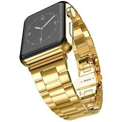 Стальной ремешок для Apple Watch 38 мм (Hoco Grand Series Slimfit Steel Watchband) (золотистый)