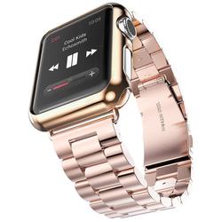 Стальной ремешок для Apple Watch 42 мм (Hoco Grand Series Slimfit Steel Watchband) (розово-золотистый)