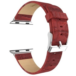 Кожаный ремешок для Apple Watch 38 мм (Hoco Art Series Bamboo Real Leather Watchband) (красный)