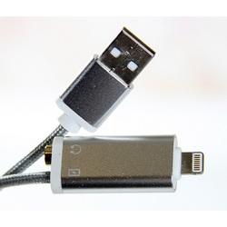 Кабель-переходник Lightning, 3.5mm Jack F-USB (Telecom TA12858-GR) (серый) Bulk