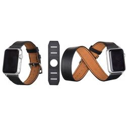 Ремешок для Apple Watch 38 мм (Hoco Platinum Lederen Watchband) (черный, кожа)