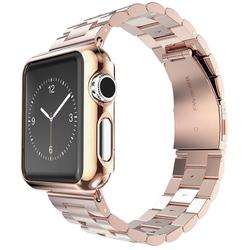Стальной ремешок для Apple Watch 42 мм (Hoco Stainless Steel Watchband) (розово-золотистый)