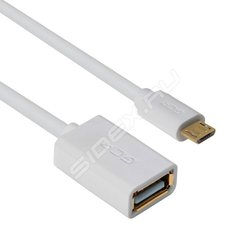 Адаптер переходник OTG micro USB - USB A (f) 1.5 m (GCR-MB6AF-AA2S-1.5m) (белый)