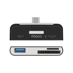 Адаптер USB-C - USB 3.0, SD, microSD (Deppa 73117) (черный)