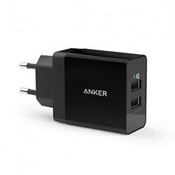 Универсальное сетевое зарядное устройство, адаптер 2хUSB, 2.4А (Anker A2021L11) (черный)