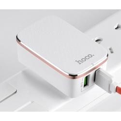 Универсальное сетевое зарядное устройство (Hoco C4 Double USB charger) (белый)