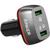 Универсальное автомобильное зарядное устройство, адаптер 2хUSB, 5.1A (Anker PowerDrive+ 2 A2224H11) (черный) - Автомобильный адаптерАвтомобильные адаптеры 12v - USB<br>Автомобильное зарядное устройство, 2хUSB, выходной ток: 5.1А, порт быстрой зарядки Quick Charge 3.0, материал корпуса: пластик.<br>