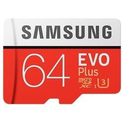Samsung MB-MC64GA microSDXC 64Gb Class10 EVO+ с SD адаптером (MB-MC64GA/RU)