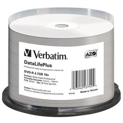 Диск DVD-R Verbatim 4.7Gb 16x Cake Box (50шт) (43744)